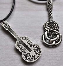 Antico Argento PL Celtic knotwork Collana con Ciondolo Chitarra Regalo Unisex Reversibile