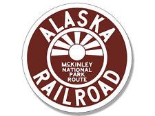 4x4 inch Round ALASKA MCKINLEY NATIONAL PARK ROUTE Railroad Logo Sticker - train