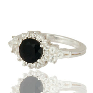 Solid 925 Sterling Silver Black Onyx Gemstone Engagement Ring Gift Jewelry