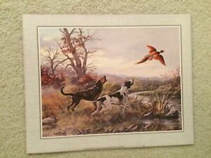"""Unframed Pheasant & Hunting Dogs Vicente Roso's Print   20"""" L x 16"""" W"""