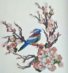 Blossoming Cherry Flower With Bird Handmade Embroidered Patch