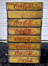 8 Vintage 1960's Yellow Coca Cola In Bottles Wood Soda Pop Crates Lot