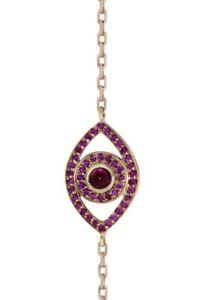 Netali Nissim 18k Rose Gold and Ruby Evil Eye Bracelet