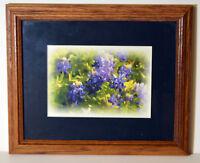 Vintage Watercolor Painting on Paper Summer Pansies Flowers Field