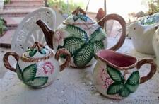 Rare Fitz & Floyd Hibiscus Teapot, Sugar Bowl Creamer Vintage Ca 1989