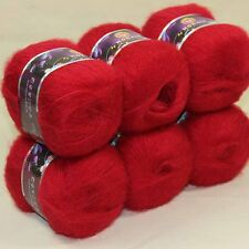 6ballsX50g MOHAIR 50% Angora Cashmere 50% silk hand Yarn Knitting dark red 10