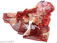 Women's Fashion red Long Scarves Soft Cotton Wrap Shawl Chiffon Scarf Neck Stole