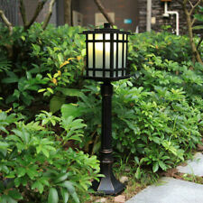 Outdoor Waterproof Black Metal Lantern Frosted Glass Garden Pillar Lawn Lights