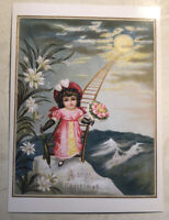 Crazy Christmas Postcard ~ Reprint of 1800s ~ Lady on ladder to the moon
