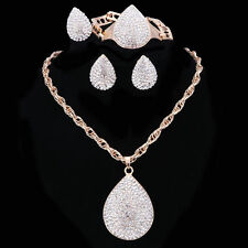 Hot Gold Plated Water Drop Crystal Necklace Earring Ring Bracelet Jewelry Set