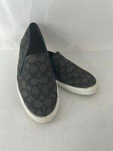 COACH  Women's AD0245 Chrissy Black Signature C Trim Slip-On Shoes Size 9B