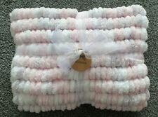 Hand Knitted Baby Pom Pom Blanket in super soft lilac, powder pink and white