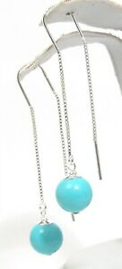 Sterling Silver Threader Earrings Reconstructed Turquoise Globe Ear Wires