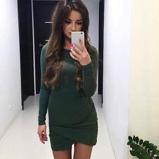 Winter Womens Long Sleeve Bodycon Dress Irregular Party Evening Mini Dress M N