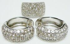 Wide Ring Cocktail Earrings Set Kjl Sterling Silver Diamonique Encrusted Cz