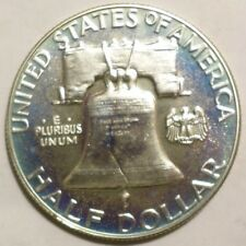 1956 Proof Franklin Half Dollar W/Reverse Toning Ring Purple/Green Type 2