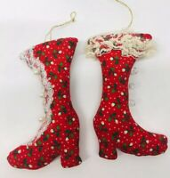 2 Vintage Christmas Victorian Boot Christmas Ornament Fabric Red Lace Beaded