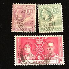 1921-1937 Antigua Postage Stamps, Used, Lot of 3
