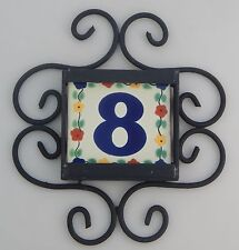 1 FLOWERS Mexican Ceramic Number Tiles & Horizontal Iron Frame