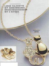 AVON Lange Halskette Carissa mit abnehmbaren Broschenanhänger mit 2 Kätzchen