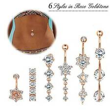 Set Surgical Steel Navel Bar Barbells Kit 6Pcs 14G Cz Dangle Belly Button Ring