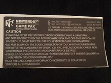 Nintendo 64 N64 Back Label Replacement for Game Cartridge Precut