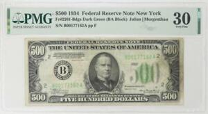 1934 $500 Federal Reserve Note, Fr. 2201, S/N B00177162A, PMG VF 30 - Nice Note