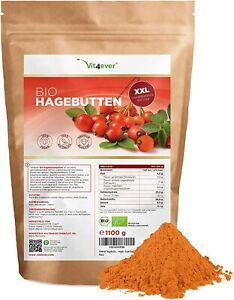 Bio Hagebuttenpulver 1100g / 1,1kg - Ganze Hagebutten gemahlen - Vegan - Roship