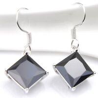 Fashion Square Black Onyx Cubic Zirconia Gems Platinum Plated Dangle Earrings