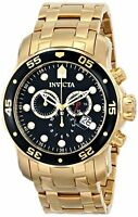Invicta Men's Pro Diver Chronograph Gold Plated Stainless Steel 200m Watch 0072