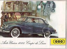 Reklame Prospekt Auto Union 1000 Coupe de Luxe um 1958 !