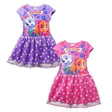 HOT 2016 New Cute Kids Girls PAW PATROL Printing Joint Lace Princess Dress 3-7 Y