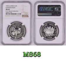 1994 south africa SILVER 1 rand MS68  NGC CONSERVATION  R1 RAM PEDIGREE