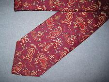 Mens Red Print Tie Necktie Bergner's ~ FREE US SHIP (6238)