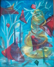 """Helen Joy Weinberg """"Abstract Winter Landscape with Red Projectiles"""" c1950 30x38"""