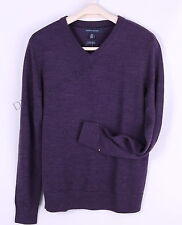 Tommy Hilfiger Men Merino V-Neck Solid 100% Wool Sweater - Free $0 Shipping