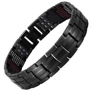 Mens Elegant Black Titanium Therapy Bracelet Super Strong Healing Magnets Bangle