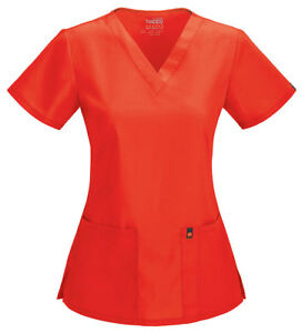 Code Happy Women V-Neck Scrub Top 46607AB CFCH Coral Reef Sizes S-XL