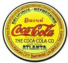COCA-COLA COKE USA 30 cm SEGNO LATTA METALLO ROTONDO GIALLO Atlanta Vintage Logo