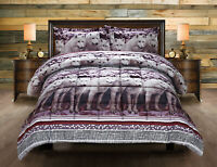 3D Wolf Pack Queen Size 3 Piece Printed Box Stitched Breathable Comforter Set