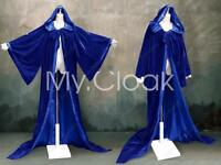 Halloween Robe Wizard Velvet Hood Cloak Wicca Larp Lotr Costume Blues S-6X