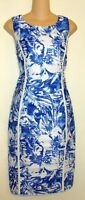 JOSEPH RIBKOFF BLUE WHITE FLORAL PRINT DRESS SIZE 12  A121