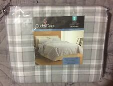 Cuddl Duds Twin  Sheet Set Gray Plaid Heavyweight Flannel 100% Cotton