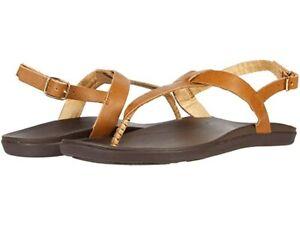 Olukai Women's 'Ekekeu Leather T-Strap Sandals - Sahara/Kona Coffee NWB