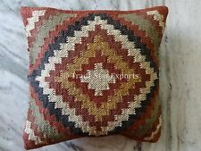 Kilim Cushion Cover Jute Ethnic Pillow Boho Hand Woven Shams Hippie Indian Throw