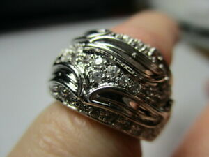 STERLING SILVER ROSS SIMONS ROUND CUBIC ZIRCONIA LEAF TAPERED BAND RING SIZE 4.5