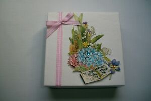 """Hand Decorated """"Assorted Flowers, Pink Bow"""" Jewelry/Gift Card Box, Holder"""