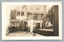 SS Fort Hamilton Ship Deck RPPC Antique Steamer Steam Boat Photo 1910s
