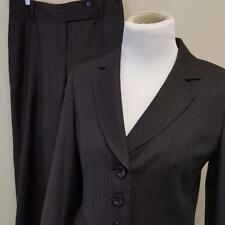 Ann Taylor Gray Pinstripe Pant Suit Womens sz 4P Jacket 4 Margo Pants 29x28 Wool