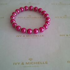 Glass Pearl Hot Pink Beaded Stretch Bracelet With Daisy Shape Beads